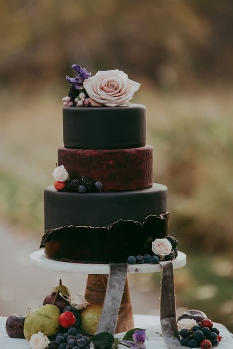 Deep burgundy and black fondant wedding cake with fresh autumnal fruit and