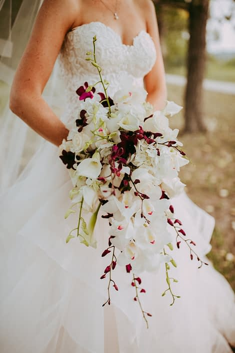 Close up photo of Cascade bridal bouquet designed with white cymbidium orchids and white and burgundy dendrobium orchids and white calla lilies