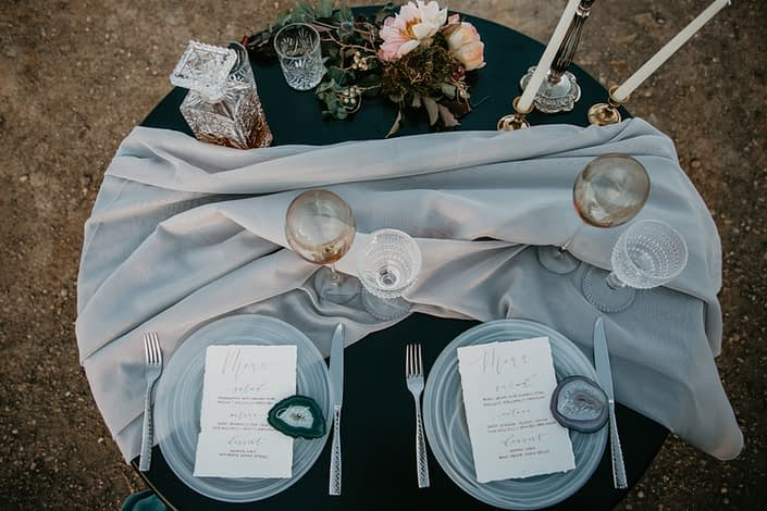 top down view of a sweetheart table with blush peony accent