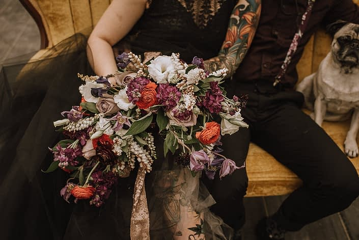 alternative bride in black dress sitting on a sofa with groom in suspenders and a pug and a bouquet with red ranunculus and white lisianthus and purple clematis and white pieris and amnesia roses and purple stock