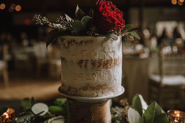 hearts garden rose and seeded eucalyptus cake flower accent on his and hers naked cake for wedding