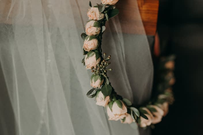 Pink spray rose bridal floral crown with eucalyptus accents