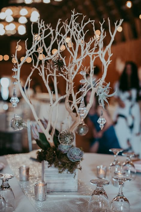 rustic wedding centerpiece of sandblasted white manzanita branches and hanging crystals with clear globes and tillandsia air plants with moss, succulents and a blush king protea at the base