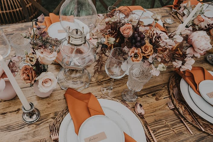 Centrepieces for Modern Boho and Terracotta styled shoot