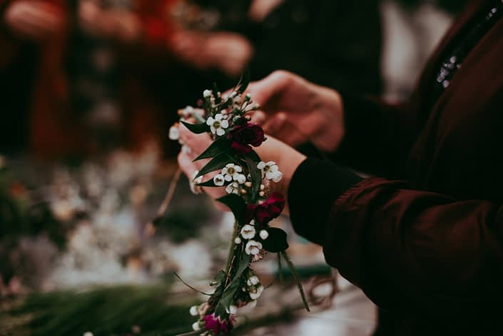 Calyx Floral Deisgn workshop of Flower crown making with carnations and wax flower and italian ruscus