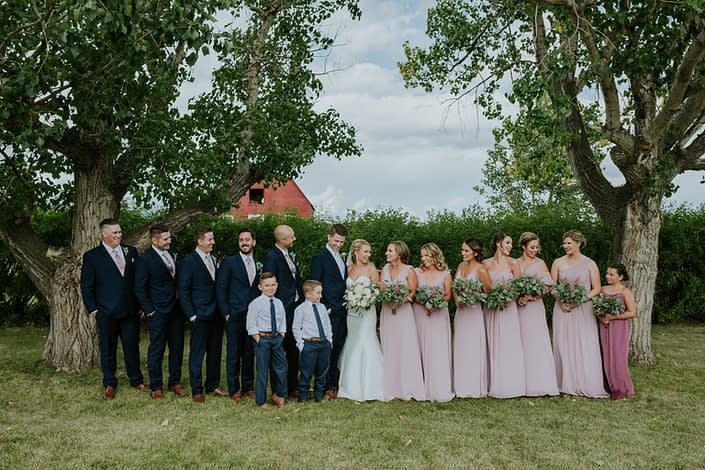 Brooke and Levi's Rustic Chic Blush Wedding party.