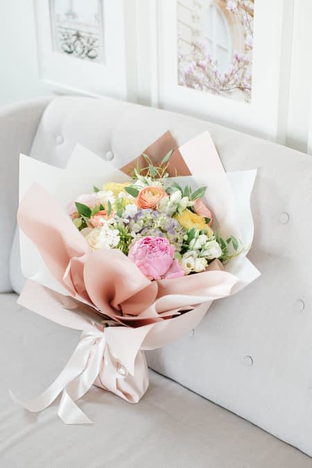 lux wrap hand tied bouquet