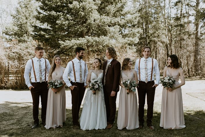 Rustic Elegance bridal party at Pine and Pond with blush, white & burgundy bouquets