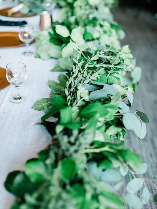 Lush garland made of a variety of eucalyptus and salal.