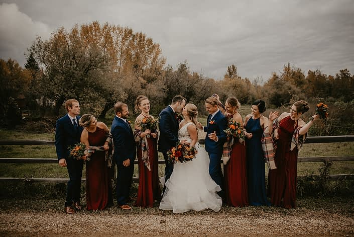 Hayley and James' rustic fall wedding bridal party.