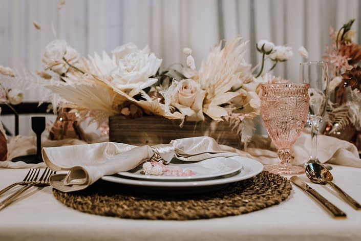 Place setting at the With This Ring Bridal Gala 2020