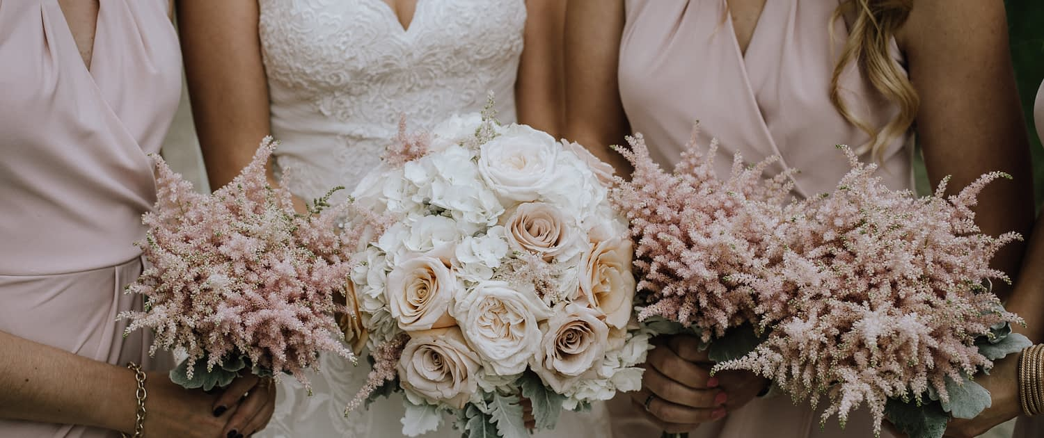 bride in strapless wedding dress holding a bouquet of whte hydrangea and blush roses and dusty miller and bridesmaids in blush holding pale pink astilbe bouquets