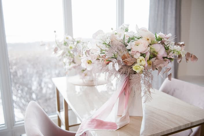 Planning your wedding flowers; bridal bouquet delivered in box lined with plastic