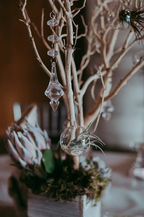 clear hanging crystals and clear globes with tillandsia air plants and sandblasted manzanita in whitewashed wooden box with a pale pink king protea and moss