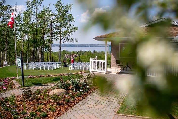 View of sylvan lake from bridal suite at hilltop wedding center