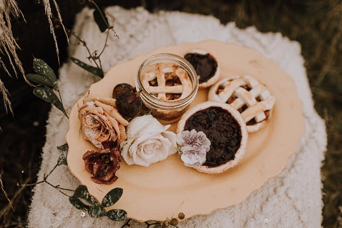 Treats and flowers for down the aisle fall styled shoot