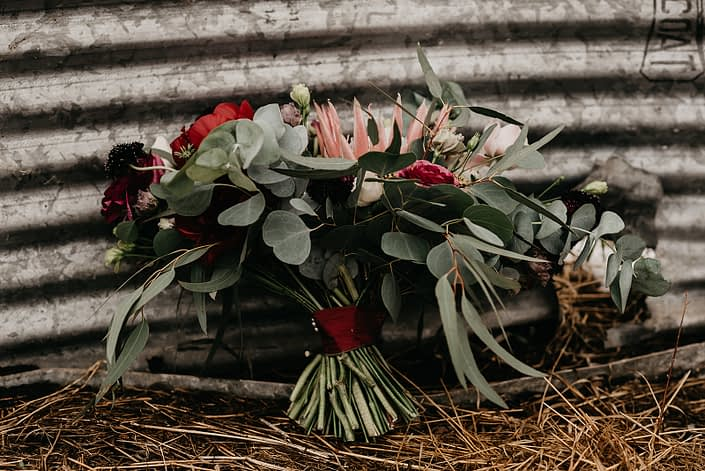 Rustic Boho Chic Wedding - Bridal bouquet made of king protea, red peonies, pink roses, plum scabiosa, panda anenome, and eucalyptus greenery tied with red ribbon.