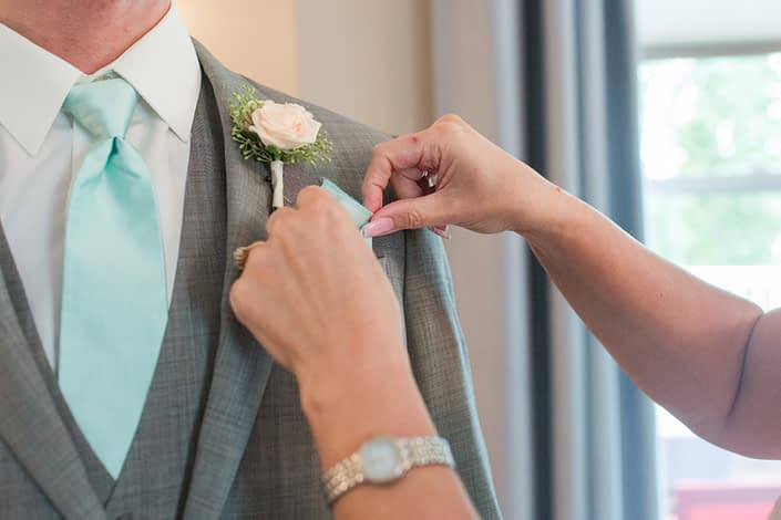 Groom's boutonniere for Megan and Steven's Rustic Pastel Wedding.