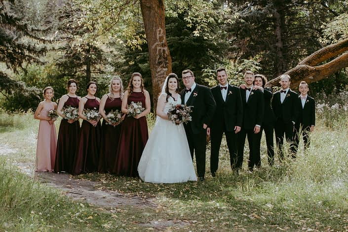 Rustic Burgundy and Dusty Rose Bridal Party