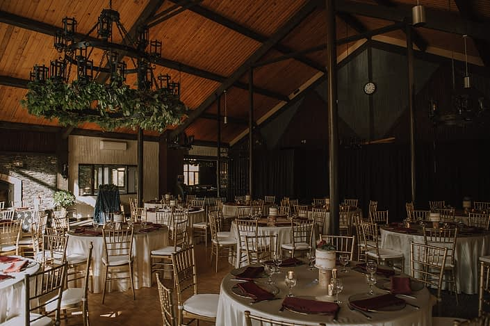 Canyon ski resort decorated for a wedding with fresh greenery garland chandelier decor